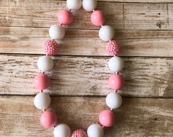 Pink and White Chunky Bubblegum Necklace, Valentine's Day Necklace, 1st Birthday Necklace, Baby Necklace, Children's Jewelry, Pink Bracelet