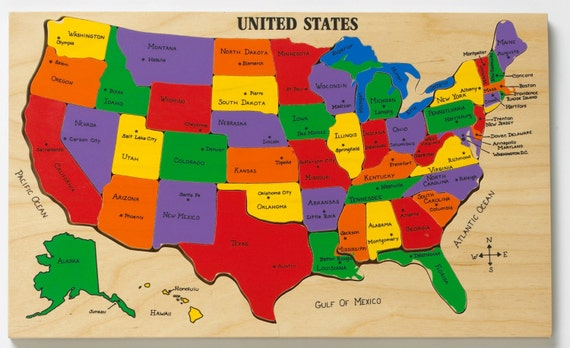 US Map Puzzle State Capitals Learning states and capitals