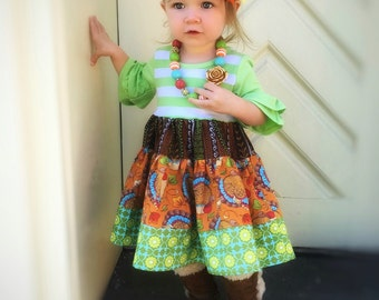 Thanksgiving dress Little girl's toddler Turkey dress Holiday Fall outfit  Momi boutique custom dress