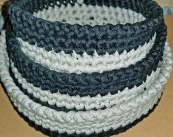 CROCHET BASKET,BOWL,Storage & Organization/Dorm Room decor/Mother's day Gift/Sturdy/Made with Tshirt Yarn/Bathroom Decor/Storage Basket Dish