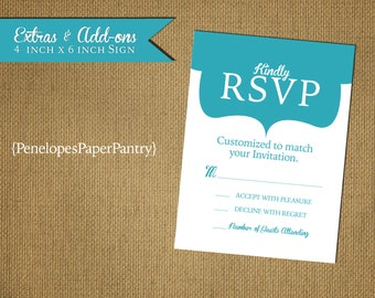 Custom Wedding RSVP, 4x6 Size,Designed to Match,Front Print Only,Matching Paper,Envelope
