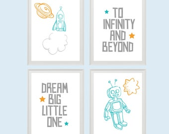 Rockets and Robots • Nursery Print Set • Baby Room Christening Gift Birthday Gift • Instant Download