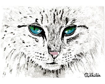 White cat world eyed Print Download Home Ilustration Art Digital Painting Watercolor Clothilde