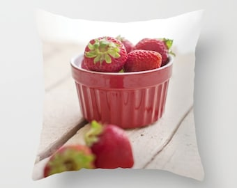 Strawberry Red Pillow - Red Throw Pillow Case - Food Pillow Cover - Kitchen Pillow - Red White Pillow - Food Pillow Cover - Red Home Decor