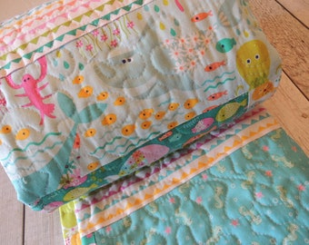 Baby Quilt, Go Fish Fabrics, Fast Shipping by Priority Mail