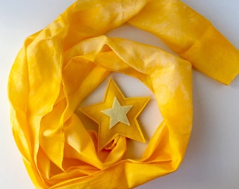 Silk and Wool Shooting Star-- yellow merino wool with hand dyed silk streamer 48 inches long