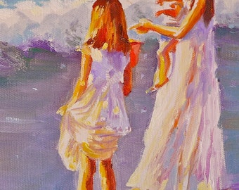 FIRST SWIM Print of Original Oil Painting, girls on beach