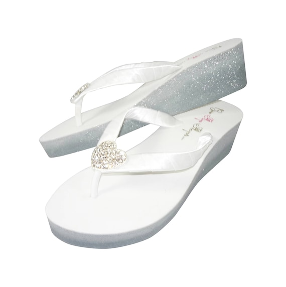 for Wedding Flip Occasion Heart Ombre Special Glitter the or Ladies Wedges Silver Flops qAHfHgTw