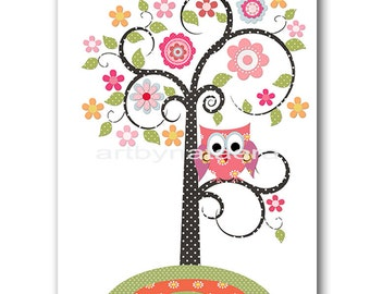 Baby Girl Room Decoration Childrens Decor Kids Wall Art Baby Girl Nursery Print Tree Owl kids Room Owl Rose Yellow Green Baby Wall Art