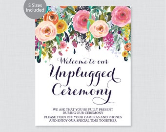 Printable Unplugged Ceremony Sign - Floral Unplugged Wedding Sign or Poster, Please Turn Off Your Phones and Cameras, Colorful Flower 0003-B