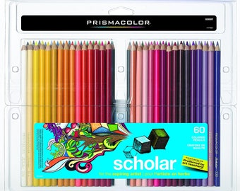 Supplies, Prismacolor Scholar Colored Pencils, 60-Count, Soft-core, Artist, Arts and Crafts, Artist-quality, Drawing, Shading