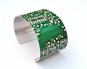 Circuit Board Image Aluminum Geekery Cuff