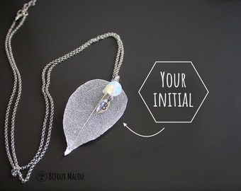 Personalised Real Dipped Leaf Necklace Personalized Jewelry Silver Dipped Leafs Electroformed Long Necklace Opalite Initial Letter Gift
