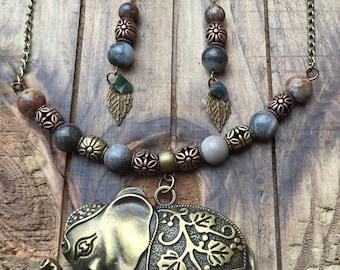 Elephant necklace set, elephant jewelry, antique brass jewelry, bronze jewelry, personalized necklace, good luck jewelry, good luck necklace