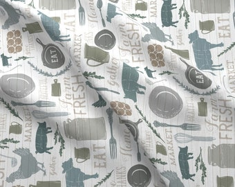 Modern Farmhouse Fabric -Rotated- Sing For Your Supper Gather Round Give Thanks By Zirkus Design- Cotton Fabric By The Yard With Spoonflower