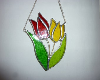 Stained glass Tulip suncatcher,