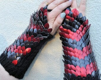 Black & Red Dragonscale gauntlets - aluminium scales on knitted gauntlets - small/medium adult, READY TO SHIP