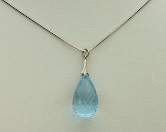 Blue Topaz Necklace, Custom Faceted Briolette Blue Topaz Gemstone in Sterling Silver, 20 Carats, Snake Chain