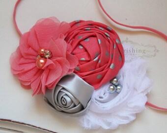 Coral and Silver headband, coral headbands, newborn headbands, vintage headbands, photography prop