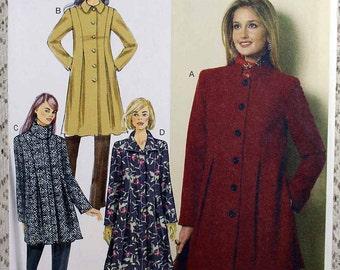 Butterick 6141, Misses' Coat Sewing Pattern, Misses' Size 14 - 22, Easy Coat Sewing Pattern, Pattern is Uncut