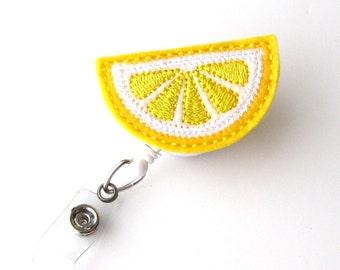 Lemon Slice - Name Badge Holders - Cute Badge Reels - Unique Retractable ID Badge Holder - Felt Badge Reel - RN Badge - BadgeBlooms