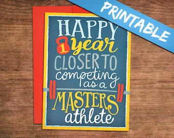 Almost a Masters Athlete Printable Crossfit Birthday Card - Fitness, Weightlifting, Powerlifting Barbell Card