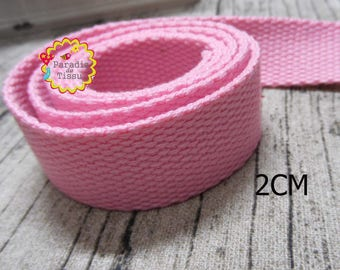 1 meter of strap 2cm cotton stripes pink purse