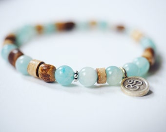 Amazonite and coconut wood mala bracelet with silver Om pendant. Elegant yoga jewelry, om bracelet.