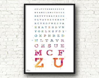 Monoyer, ophthalmologist art, letters, gift test view acuity doctor, medical art, watercolor letters