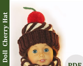 PDF 18 Inch Doll Knitting Pattern. Hat and Scarf Pattern for 18 inch Dolls like Mapela and AG. Illustrated PDF knitting tutorial!!