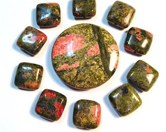 11 pieces Natural Stone Salmon Moss Unakite Gemstone Beads