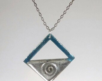 Blue and silver diamond pendant