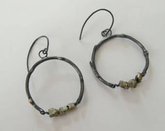 Sterling silver branch earrings with pyrite nuggets