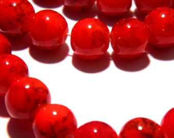 50 8 mm beads glass - smooth - round glass bead - red orange - G95