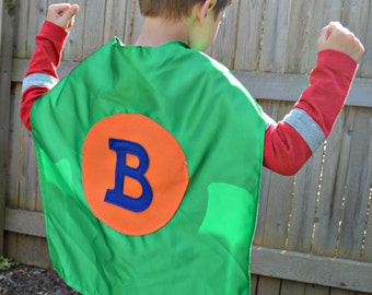 Super Hero Cape with Letter and Circle. Boy Superhero Cape. Girl Superhero Cape. Superhero Costume. Costume Cape. Superhero Party.