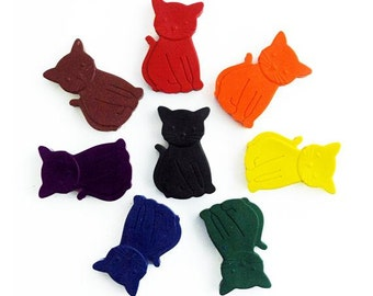 Cat crayons - Handmade Crayons - Set of 8 - Cat lovers gift - Cat gift - Gift for Kids - Gift for cat lovers - Crazy Cat Lady