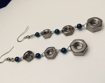 Hardware Jewelry earrings with stainless steel hex nuts and green beads
