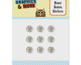 Be still and know that i am god psalm inspirational christian set of 9 puffy bubble home button stickers fit apple ipod touch, ipad air mini