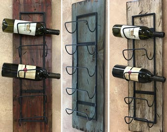 WINE RACK Wall Wood 5 Bottle Holder with Metal Home Decor Distressed Sturdy Kitchen Bar Wine Bath Towels Rustic Antique Red Cream White Blue