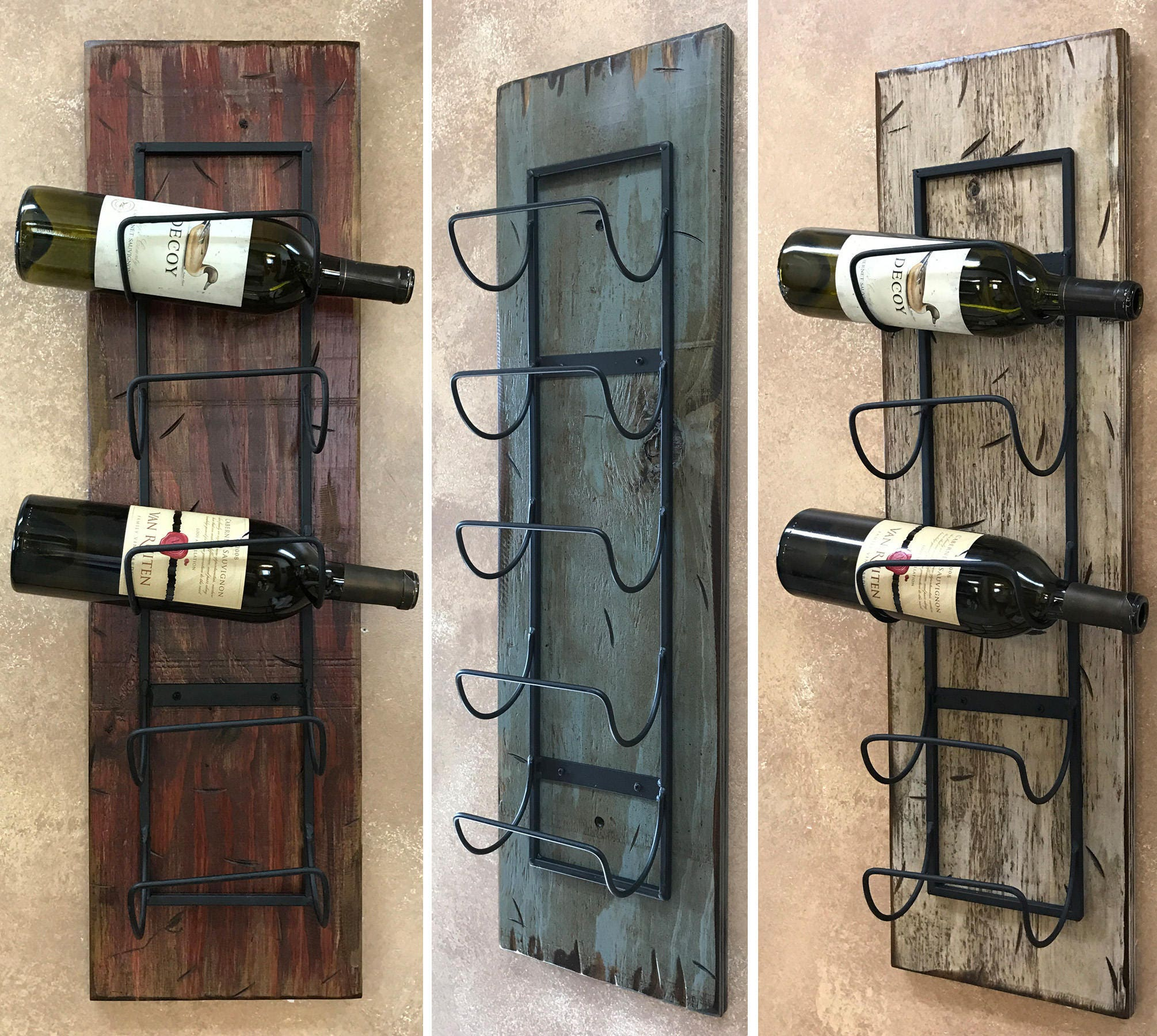Antique Cream Wood Metal Wall Decor: WINE RACK Wall Wood 5 Bottle Holder With Metal Home Decor