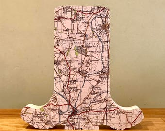 Map wellies, welly boots, muddy wellies, map gift, wooden boots, map art. Personalised with a map of your choice.