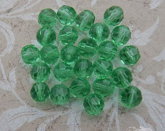 Vintage German Glass Beads Pale Green Faceted Rounds (25 pc)