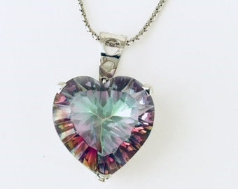 Heart Shape Mystic Quartz Pendant in Sterling Silver