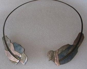 SALE Special Art Enamel Necklace by Mario Beusan Birds 2