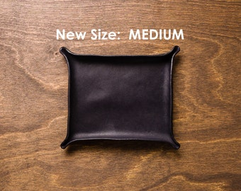 Leather Catchall Medium - Black / personalized catchall, valet tray, office organizer, gift for him, house organizer, ring dish