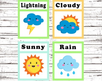 Flash Cards, Weather, Learning Toys, Educational Toys, Printable Cards, Instant Download, Preschool, Kindergarten, Printable Download