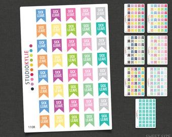 Sick Leave Flag Planner Stickers - Repositionable Matte Vinyl