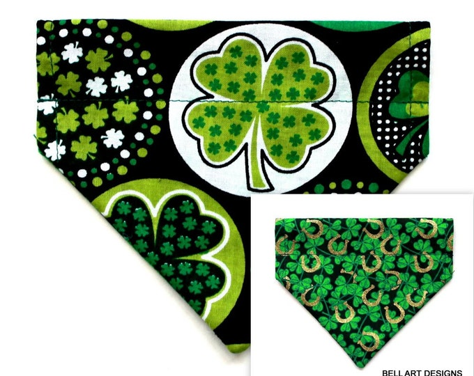 SHAMROCKS ~ Over the Collar ~ Reversible ~ Dog Pet Bandana ~ Bell Art Designs ~ Extra Small ~ DCXS0444