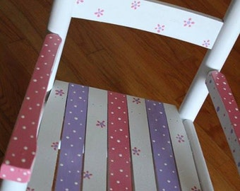 Child Rocking Chair- Kid Rocking Chair- Small Rocker- Polka Dot Theme - Personalized Hand Painted Rocking Chair
