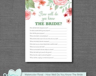 How Well Do You Know The Bride, Bridal Shower Game, Printable, Instant Download, Watercolor Floral, Flowers, Activity, Rustic, Country, 005A